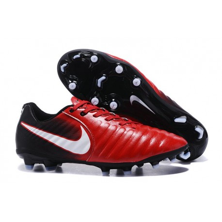 Nike Tiempo Legend 7 FG Leather Firm Ground Boots Red Black White