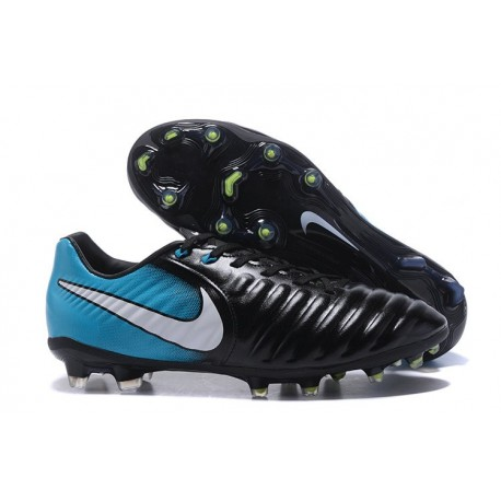 Nike Tiempo Legend 7 FG Leather Firm Ground Boots Black Blue White