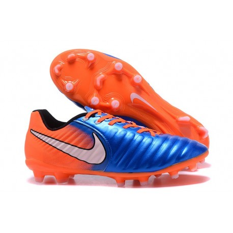 Nike Tiempo Legend 7 FG Leather Firm Ground Boots Blue Orange