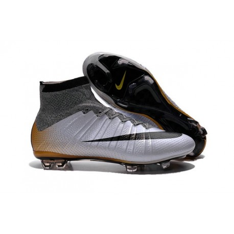 2016 Best Nike Mercurial Superfly IV FG Soccer Shoes R500 Silvery Black Gold
