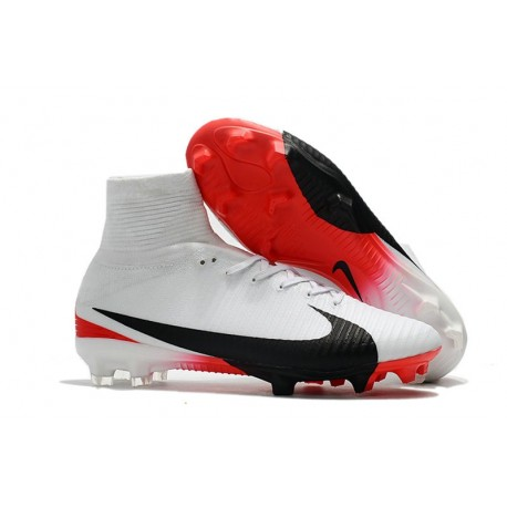 Nike Mercurial Superfly V FG 2017 New Football Boots White Red Black