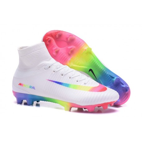 Nike Mercurial Superfly V FG 2017 New Football Boots White Pink Volt Green Blue Purple Rainbow