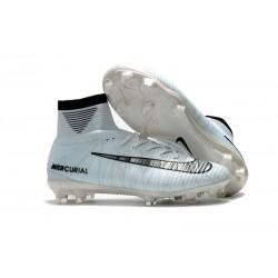 Nike Mercurial Superfly V FG 2017 New Football Boots Grey Black White