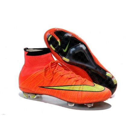 Nike New Shoes Mercurial Superfly 4 FG Soccer Cleats Hyper Punch Gold Black