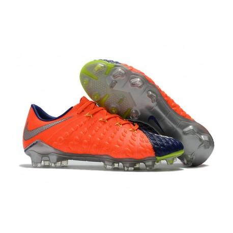 2017 Nike Hypervenom Phantom III FG Soccer Shoes Orange Blue Silver
