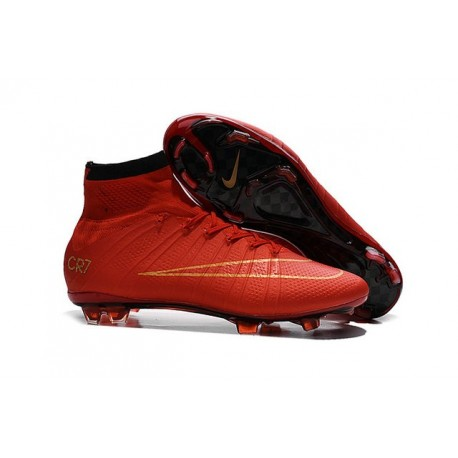 Men's Nike Mercurial Superfly IV FG Soccer Shoes Black Red