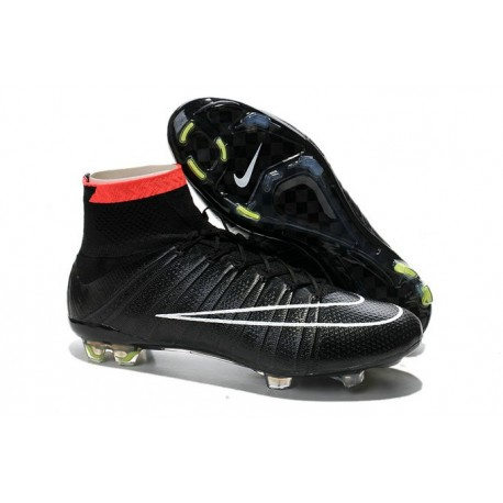Shoes For Men - Nike Mercurial Superfly IV FG Football Cleats Black White Punch Volt