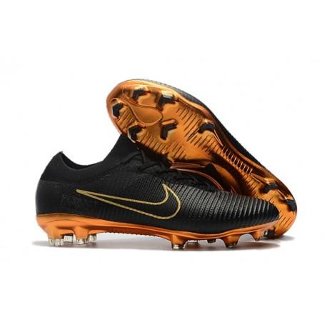 Soccer Shoes For Men - Nike Mercurial Vapor Flyknit Ultra FG Black Gold