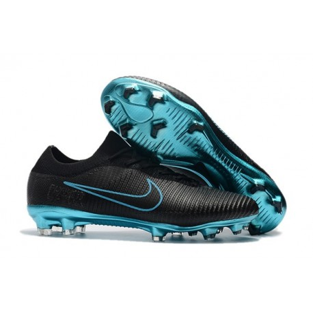 New Nike Soccer Shoes - Mercurial Vapor Flyknit Ultra FG Black Blue