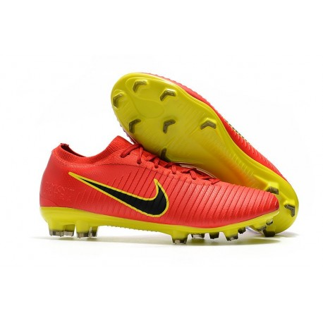 New Nike Soccer Shoes - Mercurial Vapor Flyknit Ultra FG Red Yellow Black