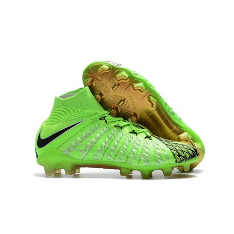 Nike Football Shoes for Men Hypervenom Phantom III DF FG EA Sports Green Black Gold
