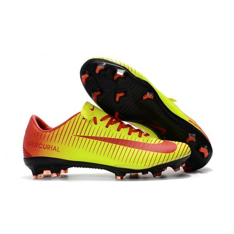 Nike Mercurial Vapor XI FG Soccer Shoes - New Arrival Football Boots Red Yellow