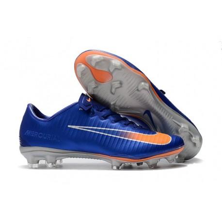 Nike Mercurial Vapor XI FG Soccer Shoes - New Arrival Football Boots Blue Orange Silver