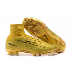 Nike Mercurial Superfly V FG New Football Boots CR7 Gold Black