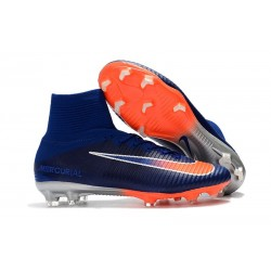 Nike Mercurial Superfly V FG New Football Boots Deep Royal Blue Chrome Total Crimson