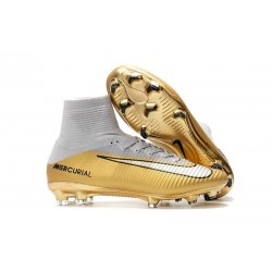 Nike Mercurial Superfly V FG New Football Boots CR7 Quinto Triunfo Gold White