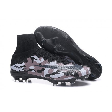 Nike Mercurial Superfly V FG New Football Boots Camouflage Grey Black