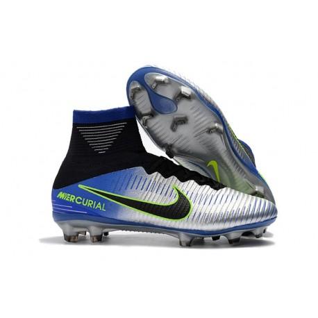 Nike Mercurial Superfly V FG New Football Boots Racer Blue Black Chrome Volt