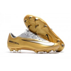 Nike Mercurial Vapor XI FG Soccer Shoes - New Arrival Football Boots Gold White