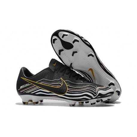 Nike Mercurial Vapor XI FG Soccer Shoes - New Arrival Football Boots Black White Gold