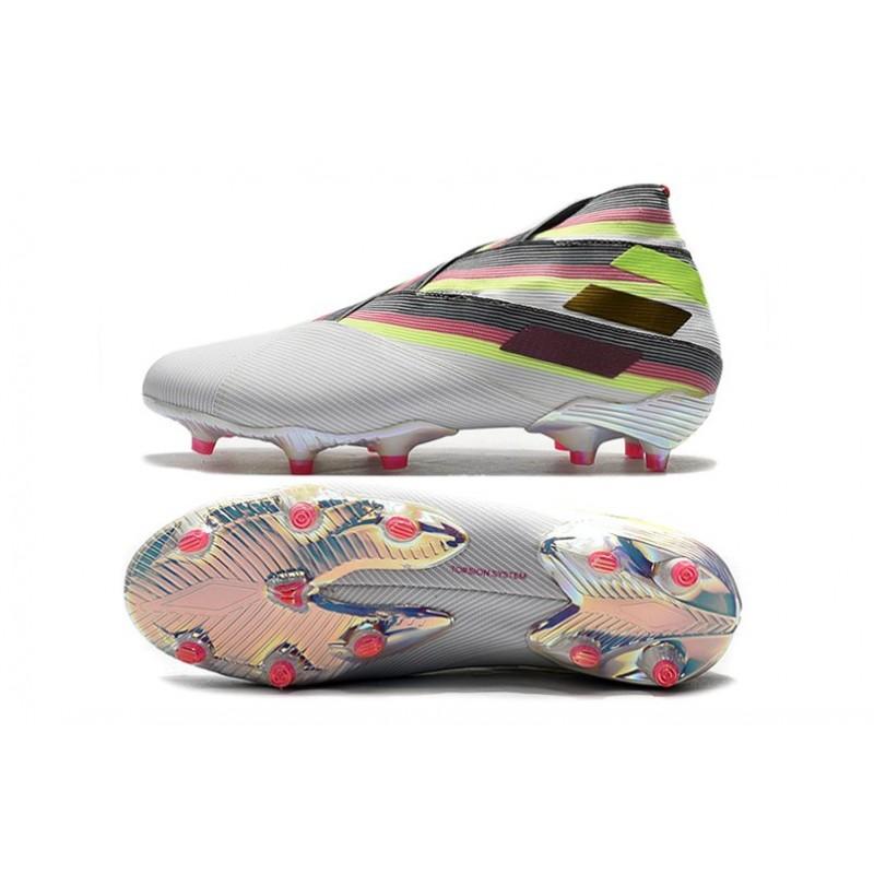 Portero Prohibición bar  Adidas Nemeziz 19+ FG Soccer Cleats Limited Edition White Pink Solar Yellow