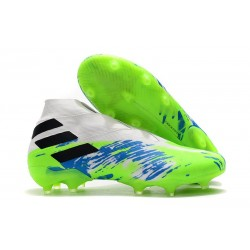 Adidas Nemeziz 19+ FG Soccer Cleats White Green Blue Black