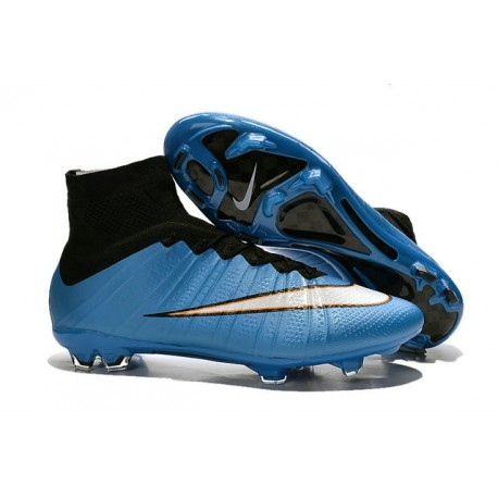 Men's Nike Mercurial Superfly IV FG Soccer Shoes Bleu Black White