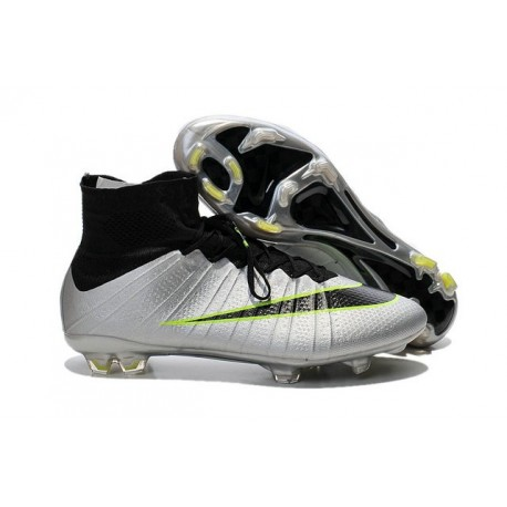 New Nike Mercurial Superfly IV FG Soccer Boots Silver Black Green