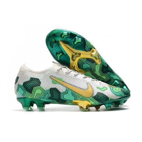 Mbappe Nike Mercurial Vapor XIII Elite FG White Green Gold