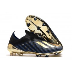 adidas X 19+ Firm Ground Soccer Cleats Core Black Gold Metallic Blue
