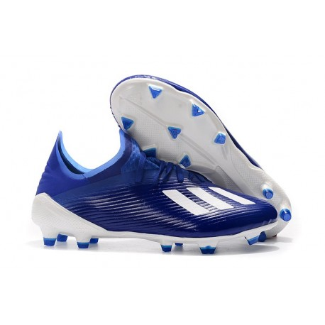 adidas Men's X 19.1 FG Soccer Cleats Royal Blue White