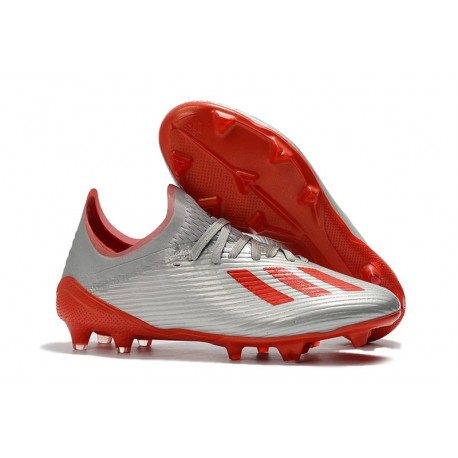 adidas Men's X 19.1 FG Soccer Cleats Silver Metallic Hi-Res-Red White