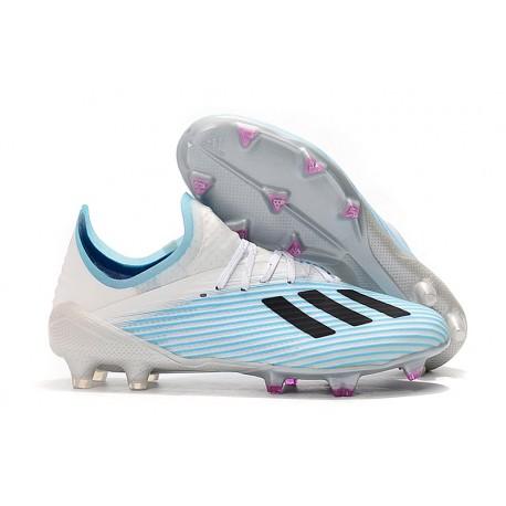 adidas Men's X 19.1 FG Soccer Cleats Blue White Black