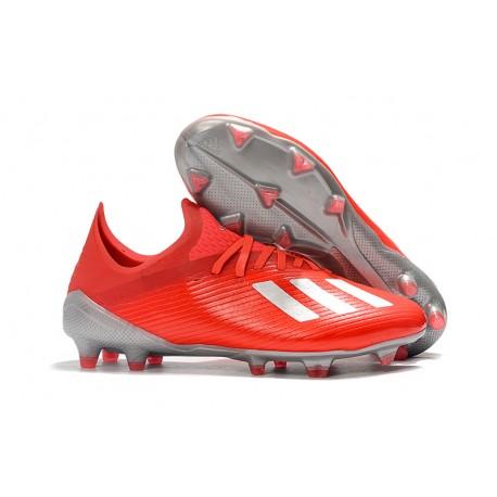 adidas Men's X 19.1 FG Soccer Cleats Crimson Silver