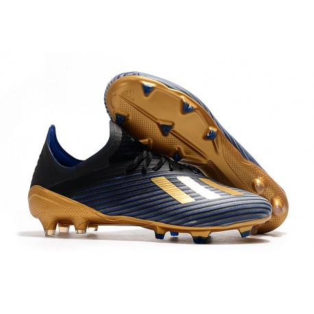 adidas Men's X 19.1 FG Soccer Cleats Black Blue Gold