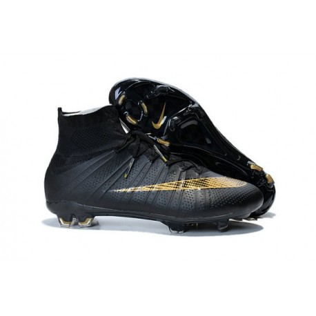 Nike New Shoes Mercurial Superfly 4 FG Soccer Cleats Black Gold