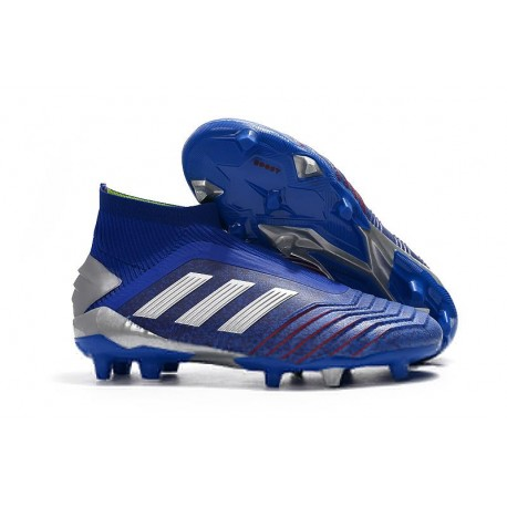 adidas Predator 19+ FG Soccer Cleats Blue Silver