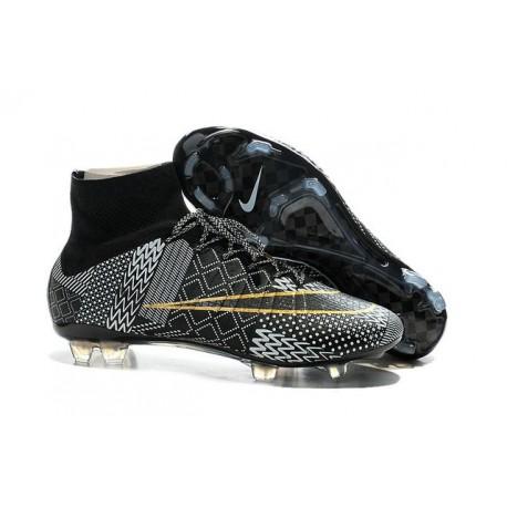 Men's Nike Mercurial Superfly IV FG Soccer Shoes BHM Black History Month Black White Gold