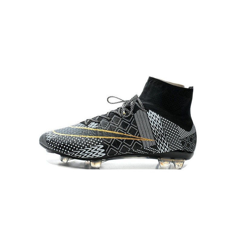 Men's Nike Mercurial Superfly IV FG Soccer Shoes BHM Black History Month  Black White Gold