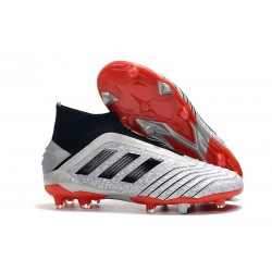 adidas Predator 19+ FG Soccer Cleats Silver Metallic Core Black
