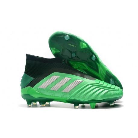 adidas Predator 19+ FG Soccer Cleats Green Silver