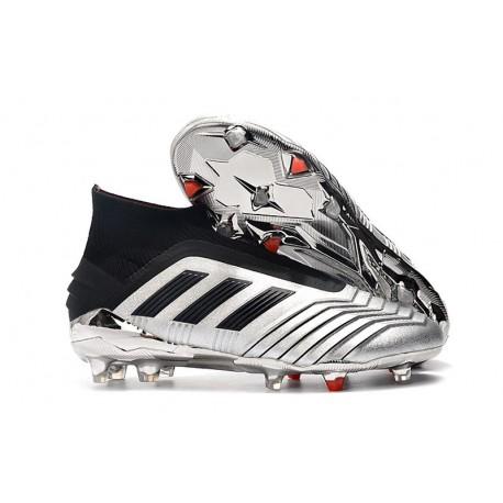 adidas Predator 19+ FG Soccer Cleats Silver Black