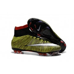 Men's Nike Mercurial Superfly IV FG Soccer Shoes Volt Red Black White