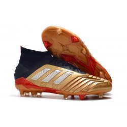 adidas Predator 19.1 FG Men's Boots Gold Silver Red