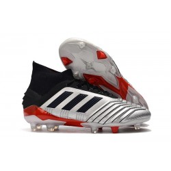 adidas Predator 19.1 FG Men's Boots Silver Black Red