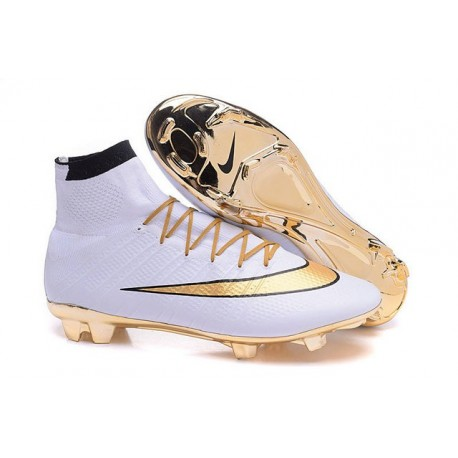 New Nike Mercurial Superfly IV FG Soccer Boots Gold White Black
