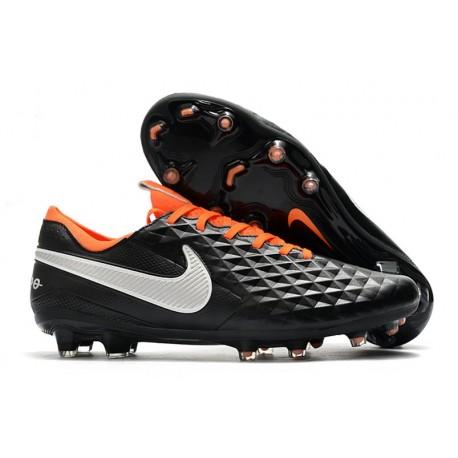 Nike Tiempo Legend VIII Elite FG Cleat Black White Orange