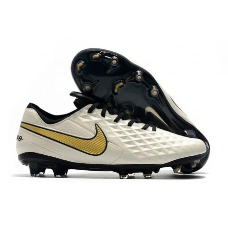 Nike Tiempo Legend VIII Elite FG Cleat White Golden Black