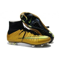 Shoes For Men - Nike Mercurial Superfly IV FG Football Cleats Gold Volt Black