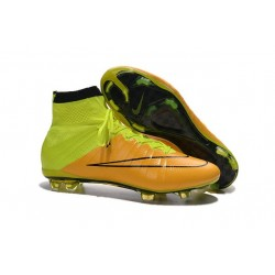 2016 Best Nike Mercurial Superfly IV FG Soccer Shoes Leather Yellow Volt Black